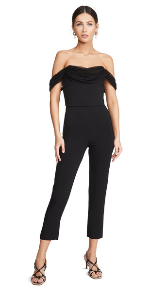 Cushnie Strapless Cropped Fitted Jumpsuit in black