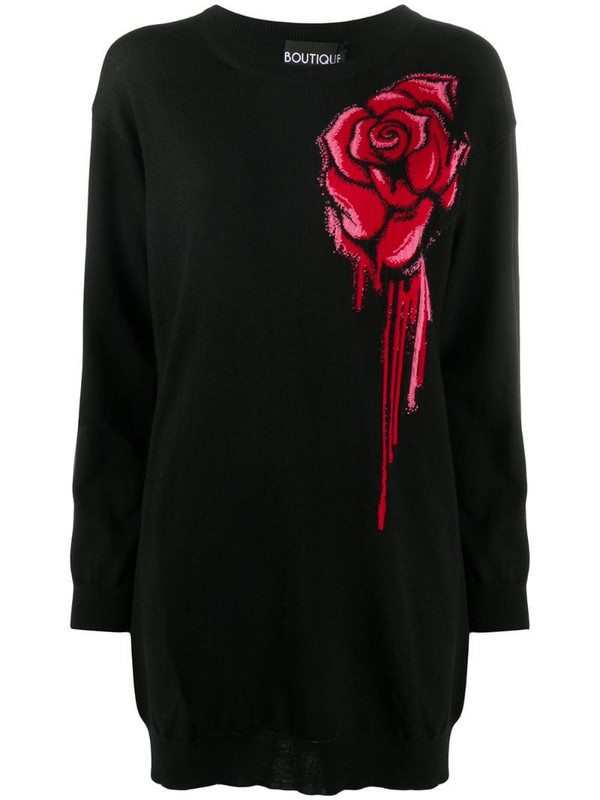 Boutique Moschino flower graffiti dress in black