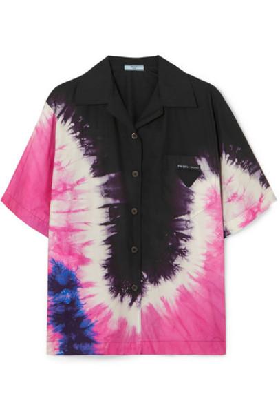 Prada - Tie-dyed Cotton-poplin Shirt - Black
