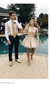 dress,champagne,short dress,prom dress,deep v dress