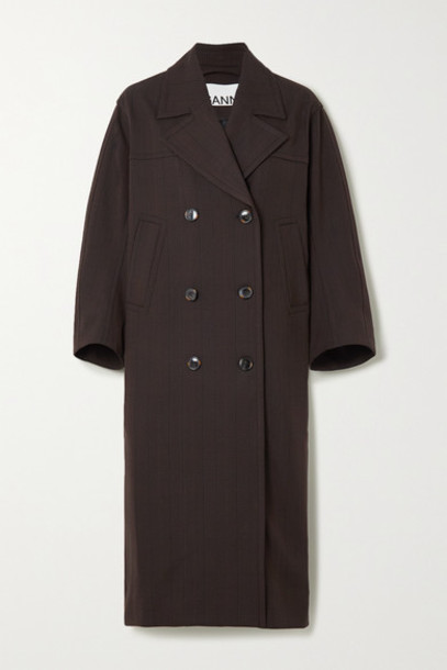 GANNI - Oversized Double-breasted Prince Of Wales Checked Gabardine Coat - Brown