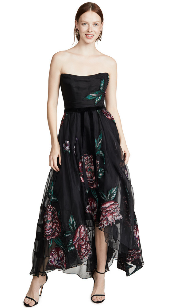 Marchesa Notte Strapless Embroidered Organza Tea Length Gown in black