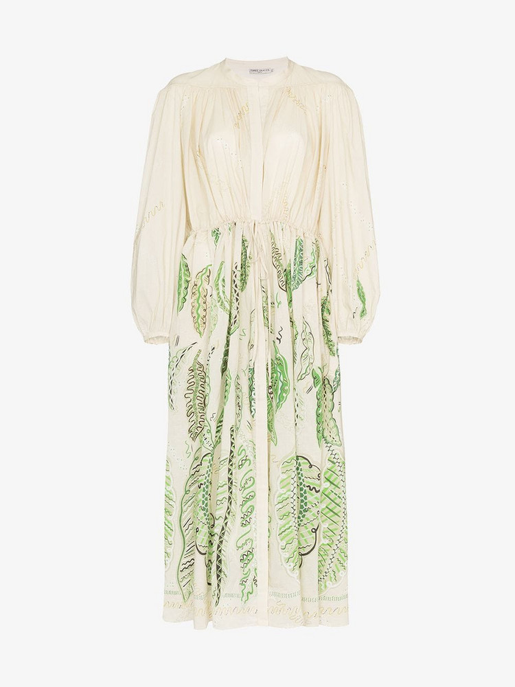 Three Graces Zandra Rhodes Julienne embroidered maxi dress in green