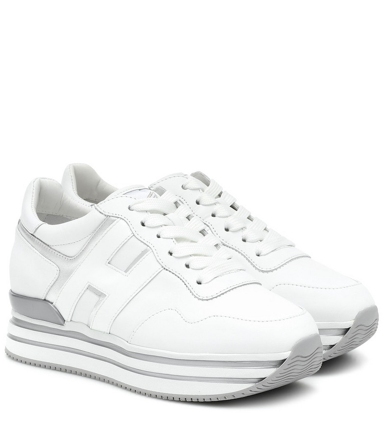 Hogan H483 leather platform sneakers in white