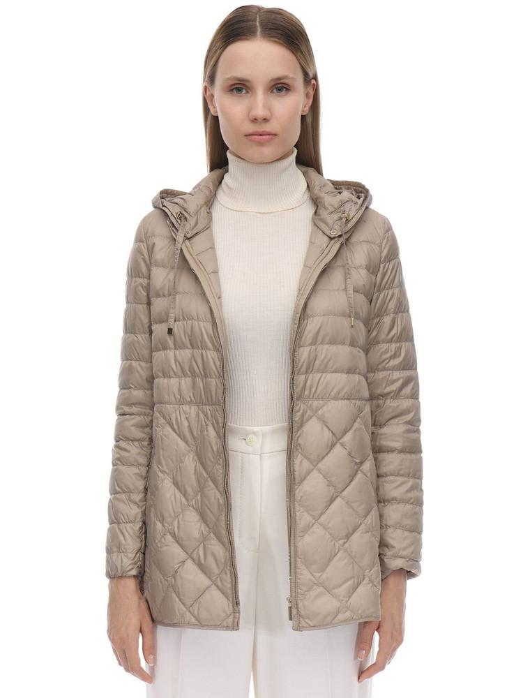 MAX MARA 'S Hooded Nylon Down Coat in beige