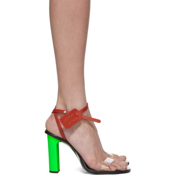 Off-White Green & Transparent PVC Zip-Tie Capri Heeled Sandals