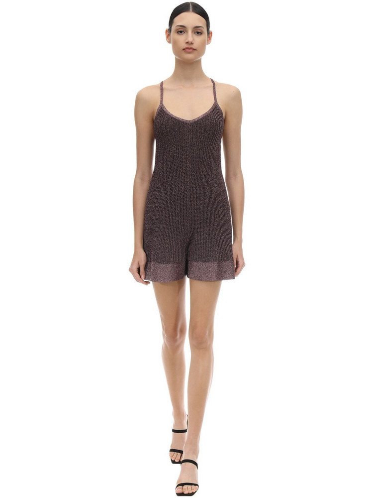 M MISSONI Lurex Viscose Knit Romper in pink