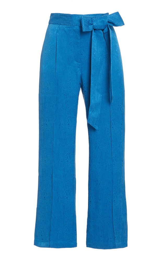 USISI SISTER Gemma Moiré Cropped Trousers in blue