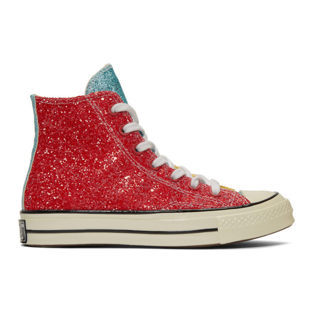 JW Anderson Red & Yellow Converse Edition Glitter Chuck 70 High Sneakers