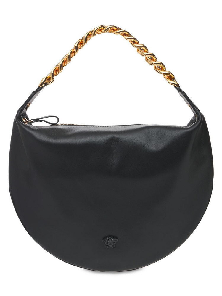 VERSACE Leather Hobo Bag W/chain Strap in black