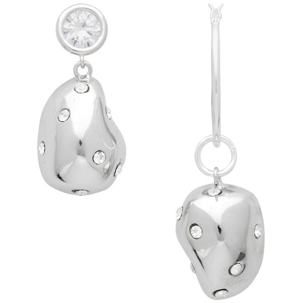 Mounser Silver Mismatched Crystal Earrings