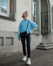 sweater,hoodie,black leather pants,sneakers,black bag