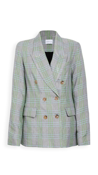 ei8htdreams Milano Linen Plaid Double-Breasted Blazer in green