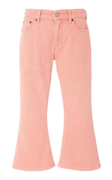 MM6 Cropped Stretch Flared Capri Jeans in pink