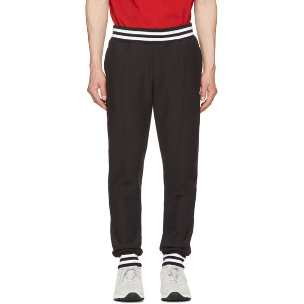 Champion Reverse Weave Black Striped Rib Lounge Pants