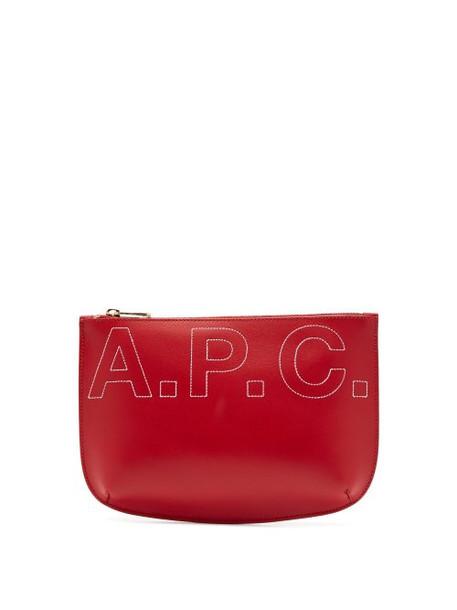 A.P.C. A.p.c. - Sarah Logo Embroidered Make Up Bag - Womens - Red