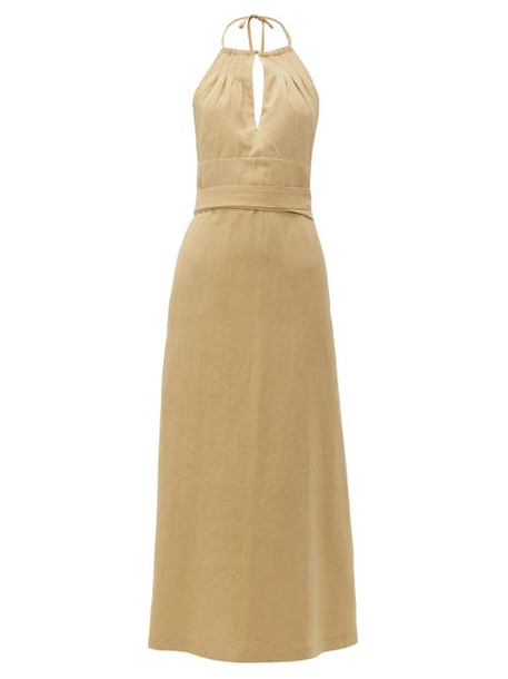 Raey - Split Front Halterneck Slubby Silk Blend Dress - Womens - Tan