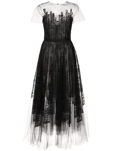 Oscar de la Renta shredded-lace A-line dress in black