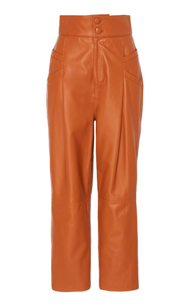 Dundas Leather Ankle-Length Trouser in brown