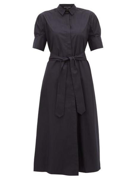 White Story - Antonia Tie Waist Cotton Shirtdress - Womens - Navy