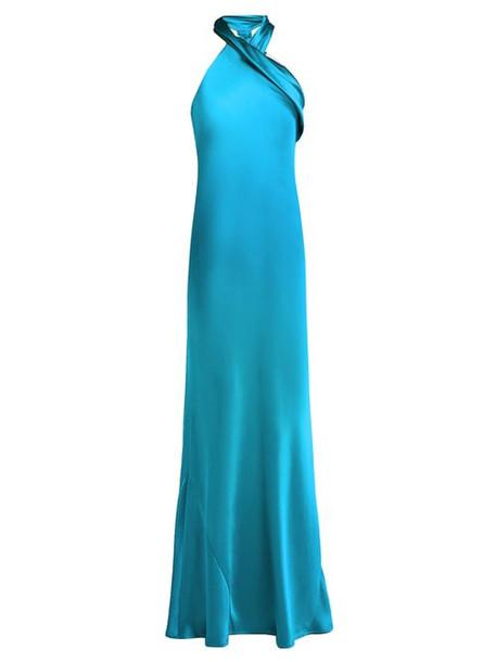 Galvan - Pandora Silk Satin Halterneck Gown - Womens - Mid Blue