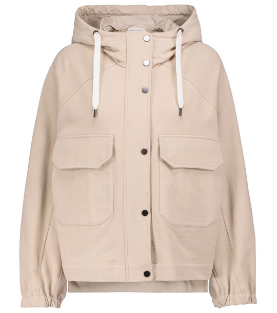 Brunello Cucinelli Hooded cotton jersey jacket in beige