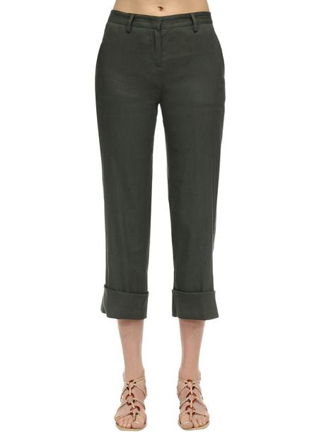 LARDINI Remigio Linen Pants in green