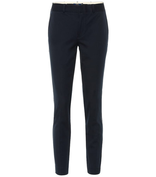 Polo Ralph Lauren Mid-rise skinny cotton blend pants in blue