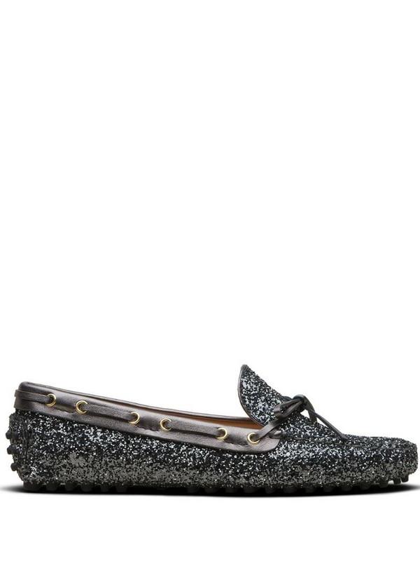 Car Shoe glitter-effect driving shoes in grey