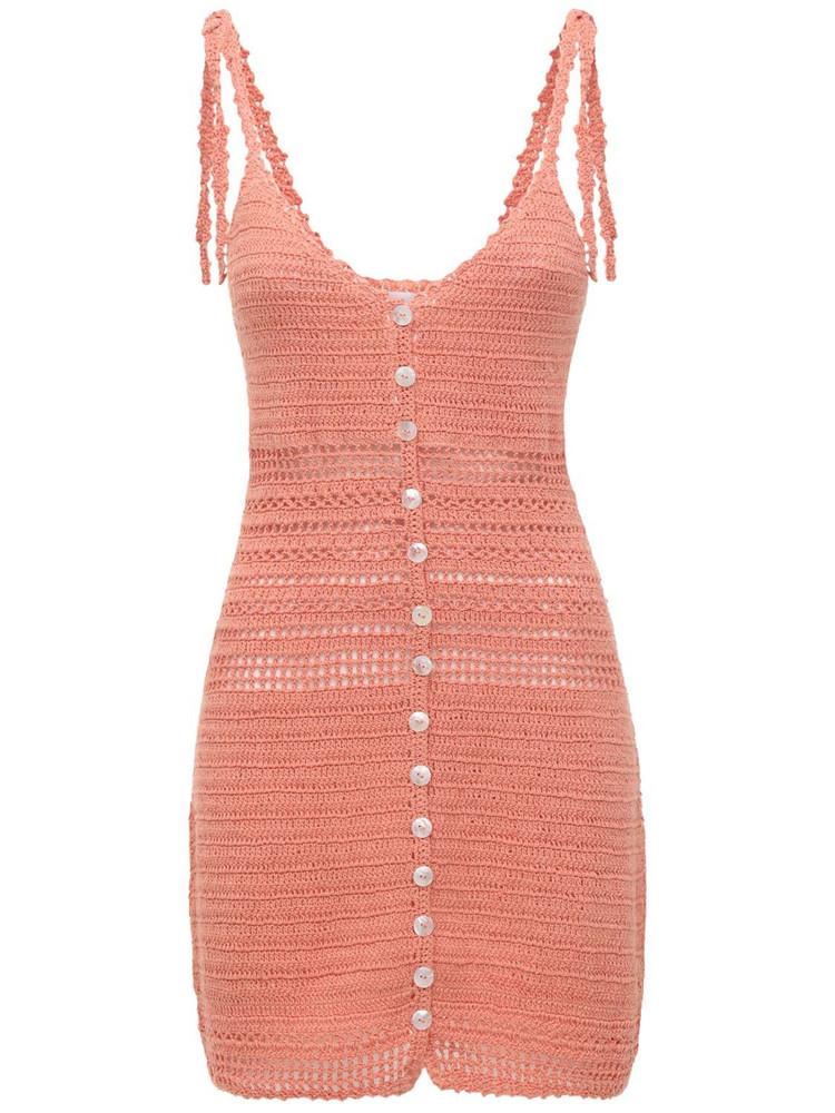 SHE MADE ME Zari Crocheted Mini Dress in peach