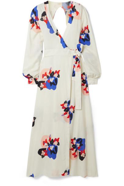 Jaline - Ursula Open-back Floral-print Voile Wrap Maxi Dress - Ivory