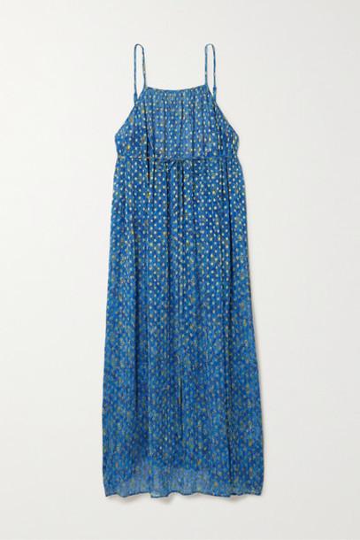 RIXO - Misty Printed Metallic Fil Coupé Chiffon Wrap Dress - Blue