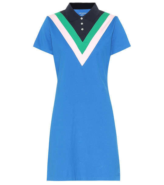 Tory Sport Chevron-paneled cotton-blend dress in blue