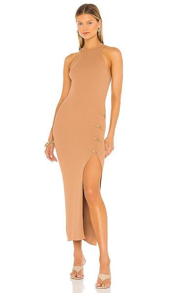 SAU LEE Parker Knit Dress in Tan in camel
