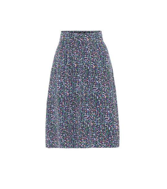 A.P.C. Ravenna crêpe de chine skirt in blue