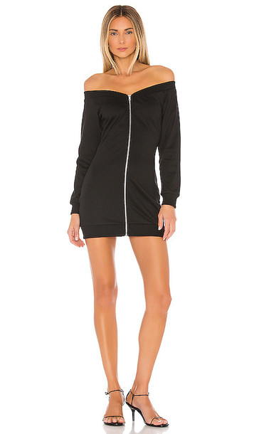 superdown Joyce Zip Sweatshirt Dress in Black