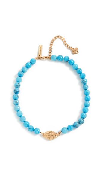 Oscar de la Renta Bead & Shell Necklace in turquoise