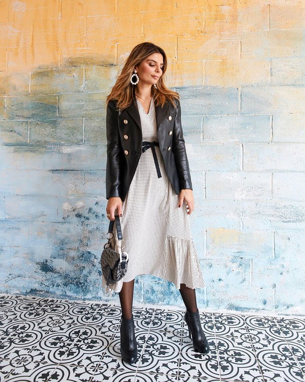 jacket black blazer double breasted ankle boots black boots midi dress dior bag
