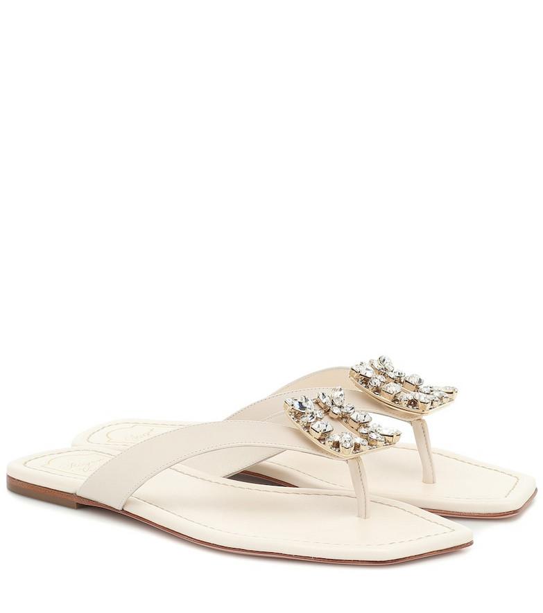 Roger Vivier Embellished leather thong sandals in white