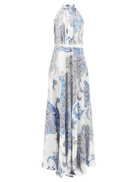 Raquel Diniz - Giovanna Floral-print Silk-satin Maxi Dress - Womens - Blue White