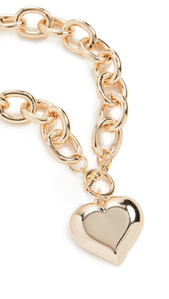 Kenneth Jay Lane Heart Pendant Toggle Necklace in gold