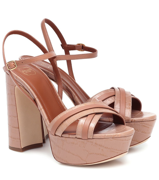 Malone Souliers Mila 125 leather plateau sandals in neutrals