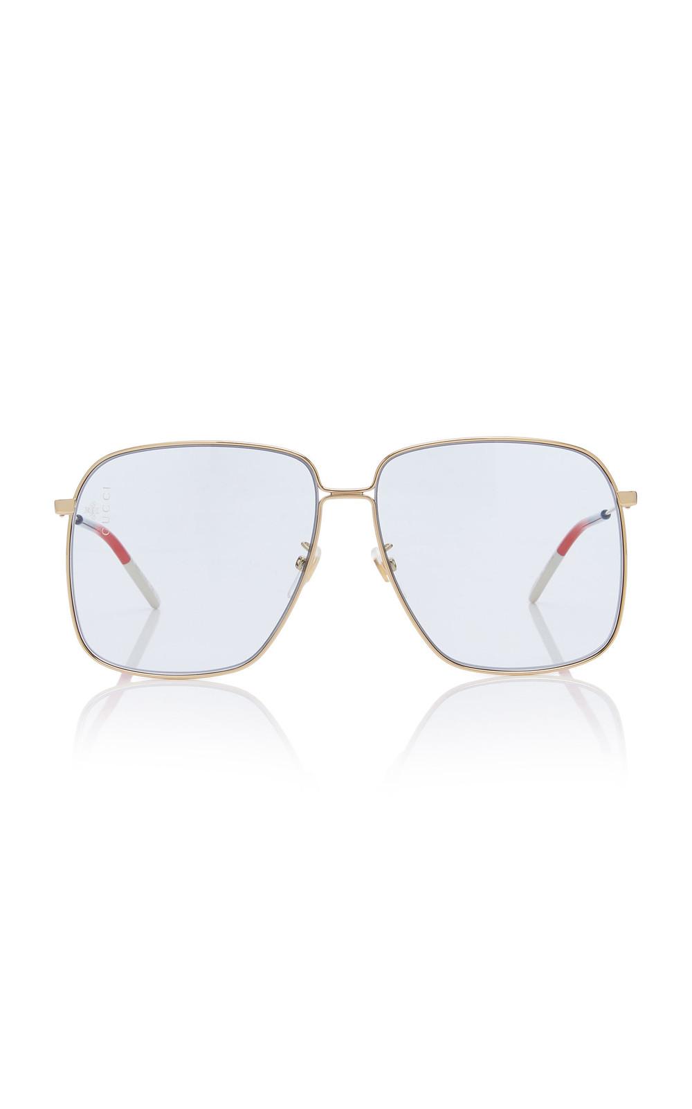 Gucci Sunglasses Glasant Oversized Metal Square-Frame Sunglasses in blue