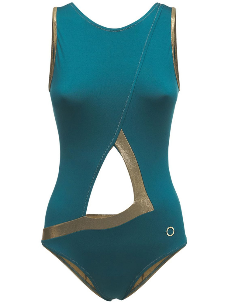 ALESSANDRO DI MARCO Cut Out One Piece Swimsuit in gold / green