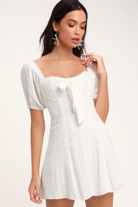 Madeline White Puff Sleeve Mini Dress