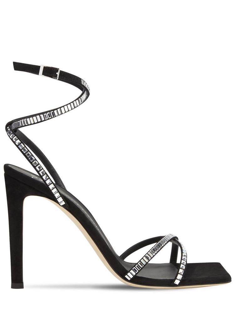 GIUSEPPE ZANOTTI 105mm Embellished Suede Sandals in black