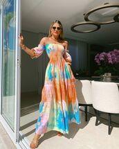dress,maxi dress,tie dye,off the shoulder,sandal heels