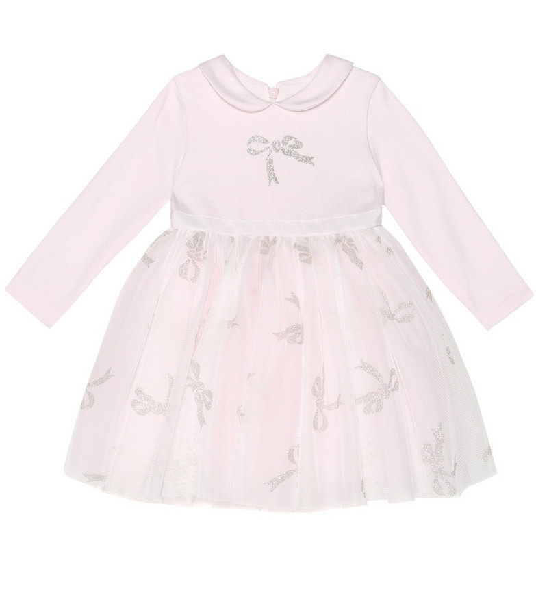 Monnalisa Baby tulle-trimmed dress in pink