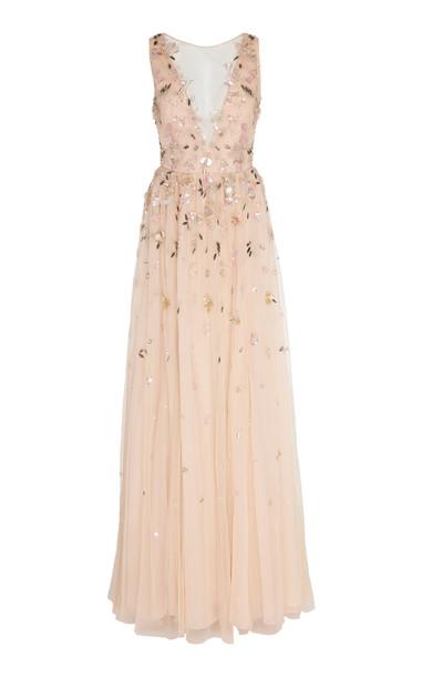 Burnett New York Rose Deep V Embroidered Gown in pink