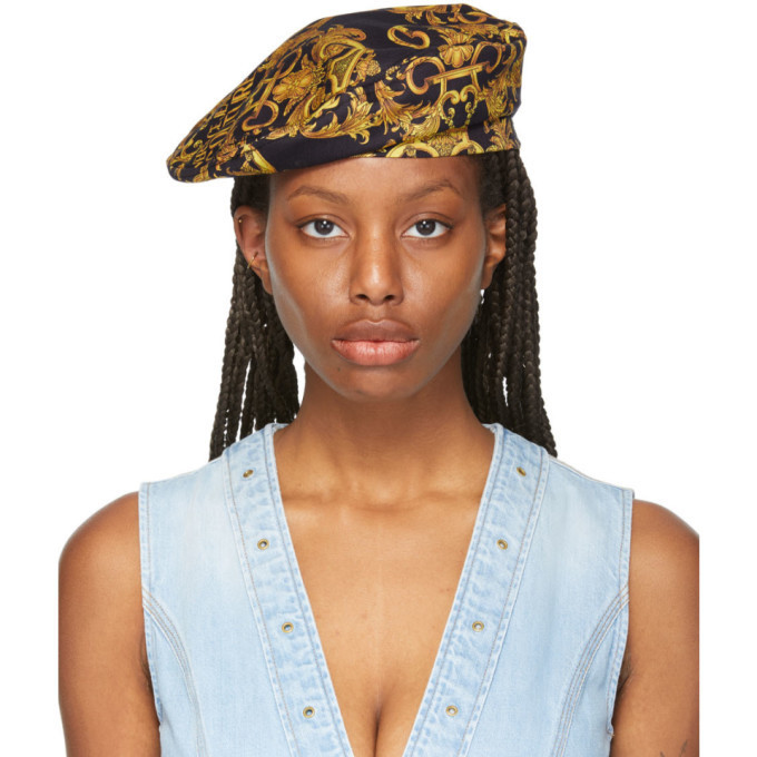 Versace Jeans Couture Black and Yellow Baroque New Logo Beret in gold